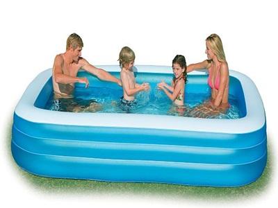 Bể bơi chữ nhật màu xanh