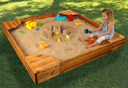 Bể Gỗ chơi cát hình vuông