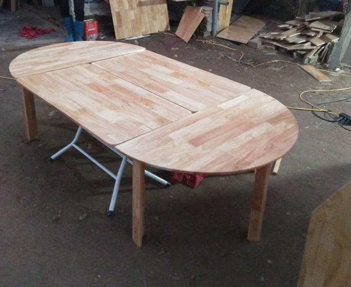 Bàn gỗ thông 4 khối ghép